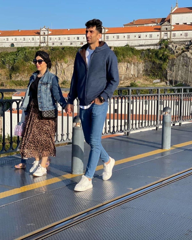 همسر بدحجاب علیرضا بیرانوند با دامن پلنگی در اروپا + عکس
